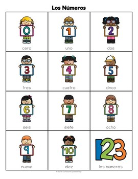 Spanish Numbers 1 to 10: Vocabulary Lists - FREEBIE