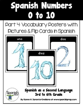 Spanish Numbers 1 to 10 Vocabulary Posters & Flip Cards in Spanish - FREEBIE