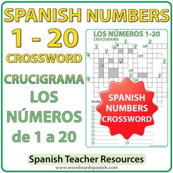 Spanish Numbers 1 to 20 Crossword - Crucigrama