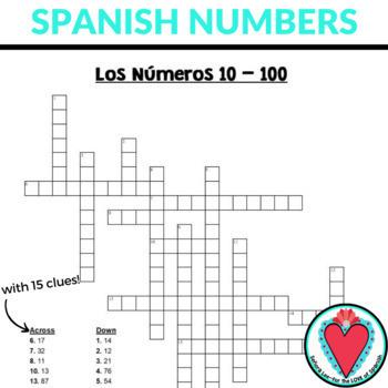 Spanish Numbers 10 -100 Crossword Puzzle