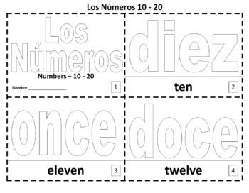 Spanish Numbers 10 - 20 Bilingual Coloring Booklet - Los Numeros
