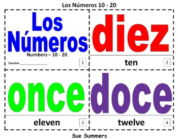 Spanish Numbers 10 - 20 Bilingual Coloring Booklet - Los Numeros