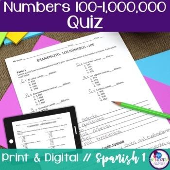 Spanish Numbers 100-1,000,000 Quiz