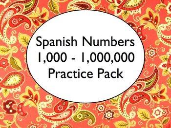Spanish Numbers 100-Millions BUNDLE- Slideshow, Worksheets Pack, Keynote