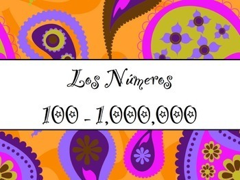 Spanish Numbers 100-Millions BUNDLE- Slideshow, Worksheets Pack, Keynote