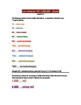 Spanish - Numbers 101-1 million