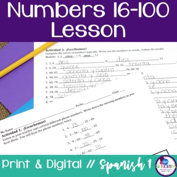 Spanish Numbers 16-100 Lesson