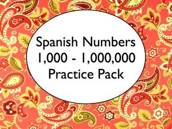 Spanish Numbers 100-1,000,000 Worksheets Practice Pack