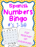 Spanish Substitute Lesson Plan Numbers Activity Game: Print-And-Go!