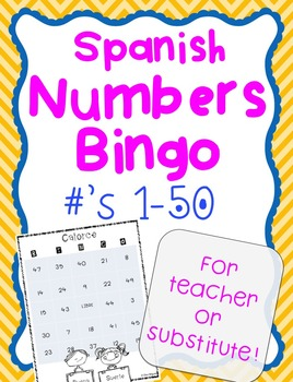 Spanish Substitute Lesson Plan Numbers Activity Game: Prin