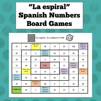 Spanish Numbers Board Game
