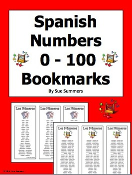 Spanish Numbers Bookmarks / Bilingual Bookmarks 0 - 100