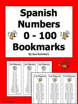 Spanish Numbers Bookmarks / Bilingual Bookmarks 0 - 100