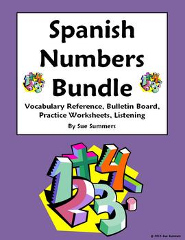 Spanish Numbers Bundle - Vocabulary, Practice, Bulletin Board, Listening