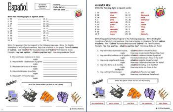 Spanish Numbers Bundle - Vocabulary, Practice, Bulletin Board, Listening