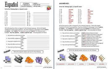 Spanish Numbers & Classroom Objects - ¿Cuántos hay? by Sue Summers