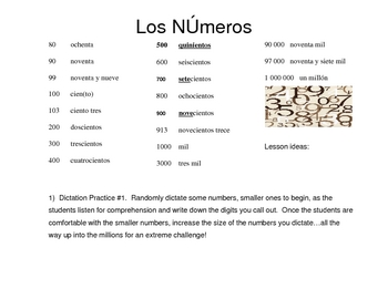 Spanish Numbers & Counting Handout