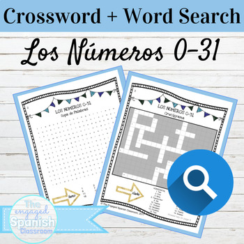 Spanish Numbers Crossword and Word Search Los Números 0-31