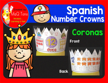 Spanish Numbers Crowns 1 - 20