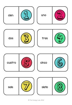 Spanish Numbers Domino