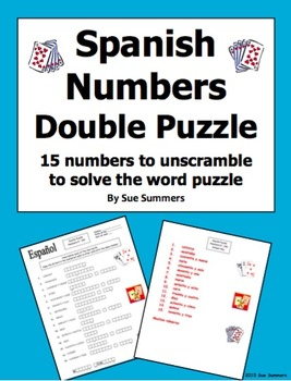 Spanish Numbers Double Puzzle Worksheet