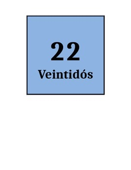 Spanish Numbers Flashcards 21 - 40