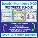Spanish Numbers Flashcards, Task Cards, & Game BUNDLE