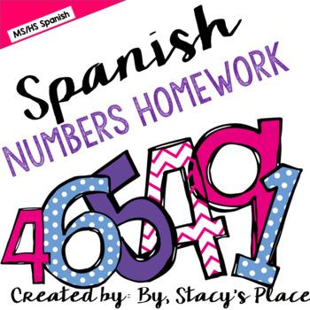 Spanish Numbers Homework (Los Numeros)