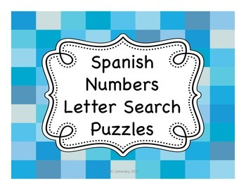 Spanish Numbers Letter Search Puzzles