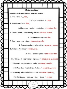 Spanish Numbers Los Numeros 0-100 Practice Stations Centers