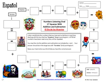 Spanish Numbers and Math Listening Activity - Day of the Dead Theme