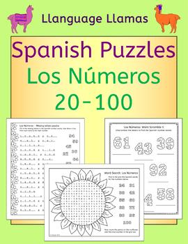 Spanish Numbers Numeros 20 - 100 Puzzles - 4 different types