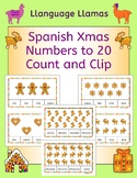 Spanish Christmas Navidad Numbers Numeros Count and Clip cards