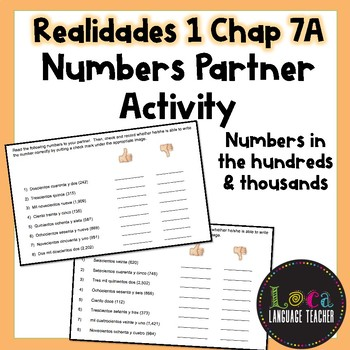 Spanish Numbers Partner Activity (Hundreds & Thousands)