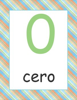 Spanish Numbers Posters 1-20 Plaid Background