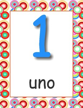 Los Numeros Spanish Numbers Posters 1-20 ( 30-100 ) by 10's Retro Circles