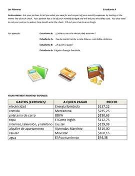 Spanish Numbers Practice:  Writing Checks