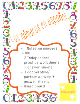 Spanish Numbers Packet of Notes and Worksheets