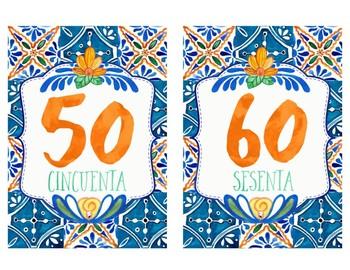 Spanish Numbers - Talavera Tile Theme