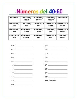 Spanish Numbers from 0 to 100 & Thousands. Writing Worksheets with Word Banks