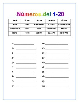 Spanish Numbers from 0 to 100 & Thousands. Writing ...