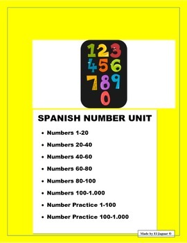 Spanish Numbers from 0 to 100 & Thousands. Writing Workshe