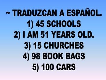 Spanish Numbers Warm-Up Activities