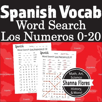 Spanish Numbers Word Search - 1 to 10; Translate into Spanish; Vocabulary