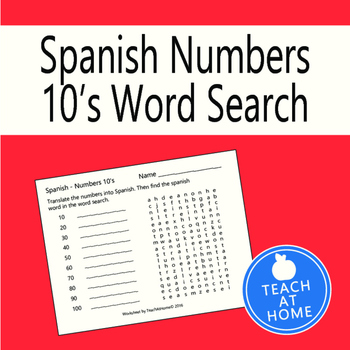 Spanish Numbers Word Search - by 10's to 100; Translate in