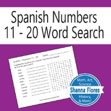 Spanish Numbers Word Search - 11 to 20; Translate into Spanish; Vocabulary