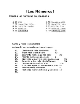 spanish numbers worksheet 1 100 by bridget sorrells tpt. Black Bedroom Furniture Sets. Home Design Ideas