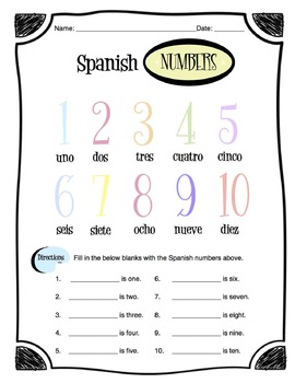Spanish Numbers Worksheet Packet