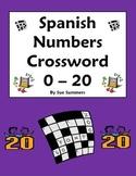 Spanish Numbers Zero to Twenty Crossword Puzzle and Image IDs - Los Números