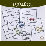 Spanish Numbers and Colors Puzzles & Worksheets - Taxis Edition